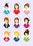 Cute illustrations of beautiful young girls with various hair style. Illustration Royalty Free Stock Photos