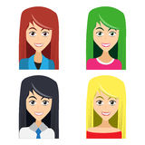Cute illustrations of beautiful young girls. With various wears and hair colors Stock Image
