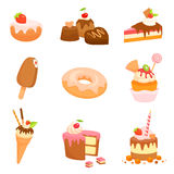 Cute illustrations of various sweets and cakes Royalty Free Stock Image