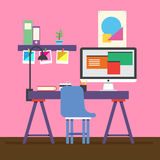 Cute Illustrator workspace. Vector for your ideas Stock Images