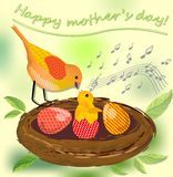Cute image mothers day, vector image with bird mother and her bird baby and colored eggs in the nest Stock Photo