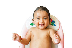 Cute Indian baby boy bathing Stock Image