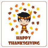 Cute Indian boy is happy behind maple leaves  cartoon illustration for thanksgiving`s day card design Stock Photos