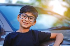 Cute Indian child wear eyeglass.  stock images