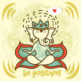 Cute Indian god Ganesha  with orient ornament Royalty Free Stock Image