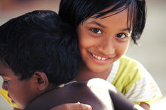 Cute Indian little girl with boy Stock Photos