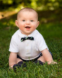 Cute infant baby boy wearing a bow tie Royalty Free Stock Photos