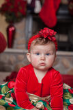 Cute Infant Baby in Christmas Costume Stock Photos