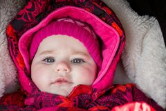 Cute infant baby girl. The first year of the new life Stock Images