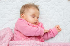 Cute infant baby girl sleeping Royalty Free Stock Photo
