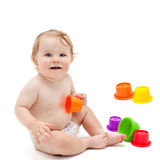 Cute infant boy with toys Royalty Free Stock Images