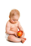 Cute infant girl with apple Stock Photos