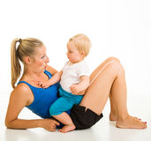 Cute infant girl with mother Royalty Free Stock Images