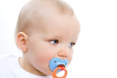 Cute infant with pacifier Stock Photo