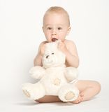 Cute Infant with Teddy Bear Stock Photos