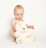 Cute Infant with Teddy Bear-5 Royalty Free Stock Images