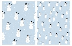 Cute Infantile Hand Drawn Snowman Vector Patterns, White Snowman with Black Hat and Broom. stock illustration