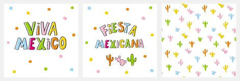 Cute Infantile Style Mexican Party Vector Ilustration and Pattern. Viva Mexico and Fiesta Mexicana Cards. stock illustration