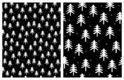Cute Infantile Style White Christmas Trees. Simple Winter Abstract Design. stock illustration