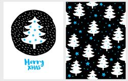 Merry Xmas. Lovely Christmas Vector Card and Pattern. stock illustration
