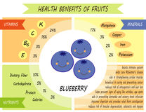 Cute infographic page of Health Benefits of fruits. Like vitamins, minerals, nutrients Stock Image