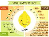 Cute infographic page of Health Benefits of fruits royalty free illustration
