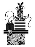Black and White Drawing of a Stack of Festive Christmas Gifts. Cute ink drawing of a pile of Christmas presents with holly Royalty Free Stock Photo