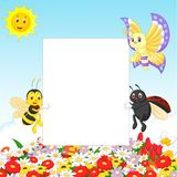 Cute insect cartoon with blank sign Royalty Free Stock Image