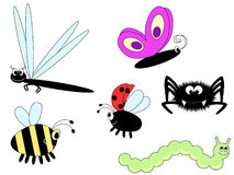 Cute insects. A set of six cute  insects Royalty Free Stock Photos