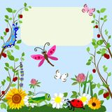 Cute insects Animal cartoon in grass and flowers. Vector illustration. Royalty Free Stock Photos