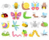 Free Cute Insects. Big Set Of Cartoon Insects For Kids And Children. Butterflies, Snail, Spider, Moth And Many Other Royalty Free Stock Photography - 146280227