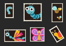 Cute insects envelope stamps Royalty Free Stock Photos