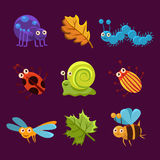 Cute Insects and Leaves with Emotions. Vector Royalty Free Stock Images