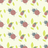 Cute insects seamless pattern beautiful art graphic bugs wallpaper cartoon design summer vector illustrtion Royalty Free Stock Images