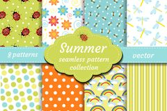 Cute insects seamless pattern set. Spring collection of ladybug and abstract repeating textures. Summer kids bee Stock Illustration