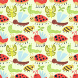 Cute insects seamless pattern vector. Cute insects seamless pattern. Beautiful art graphic bugs wallpaper. Cartoon design summer little animals decoration Royalty Free Stock Images