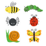 Cute insects set. Stock Photos