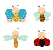 Cute insects set Royalty Free Stock Photos