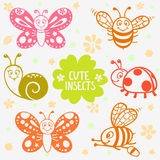 Cute insects silhouette Royalty Free Stock Photography