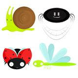 Cute insects and snail Royalty Free Stock Photo