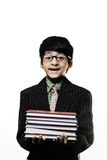 Cute Intelligent Little Boy Holding Books And Wearing Glasses Royalty Free Stock Image