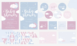 Cute invitation cards for baby shower and birthday party. Wish and dessert cards, happy birthday flags. Design templates for girl and boy or twins vector illustration