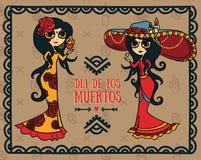 Cute invitation cards for dia de los muertos. Cute card for dia de los muertos, doodle sugar scull girls, vector illustration Royalty Free Stock Images