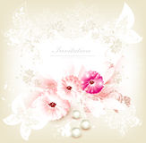 Cute invitation wedding card with flowers Stock Photo