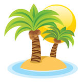 Cute Island. An illustration of a palm trees a sunset background Stock Image