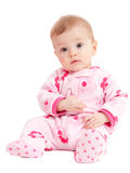 Cute isolated baby girl in pink sitting. Isolated on white Royalty Free Stock Photography