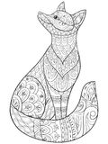 Adult coloring book,page a cute isolated fox for relaxing.Zen art style illustration. Stock Photo