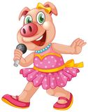 Cute isolated pig singing. Illustration royalty free illustration