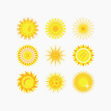 Cute isolated yellow sun and flower icons set. On white background Stock Photography