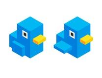 Cute isometric cartoon bird Stock Images